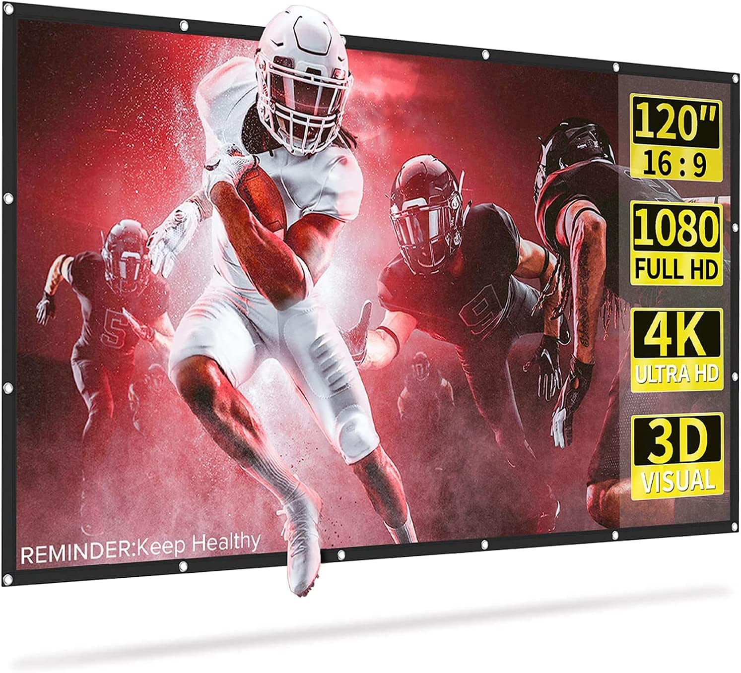 Kocanli Projector Screen, 120 Inch Projection Screen 4K HD, 16:9, Foldable Wrinkle-Free Movies Screen for Home Theater, Support Front & Rear Projection