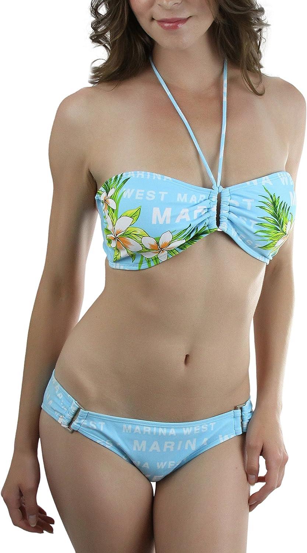 ToBeInStyle Women's TwoPiece Bikini Set Halter Top Boyshort
