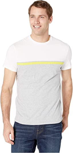 Short Sleeve Front Panel Engineered Stripe Self Collar Crew Neck Tee