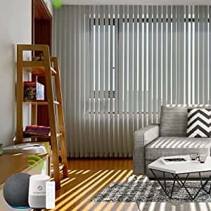 Yoolax Motorized Vertical Blinds Work with Alexa, Light Filtering Remote Control Window Blind Custom Size, Blackout Electric Blinds with WiFi Power Motor for Smart Home (Smoky Grey)