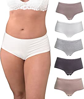 Underwear Women Plus Size, 5-Pack Hipster Panties, Cotton and Spandex