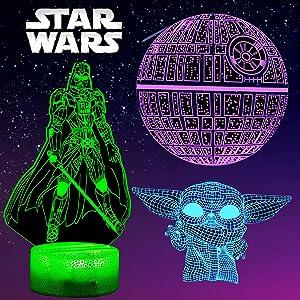 Star Wars Night Light 3D Lamp, Star Wars Lamp, 3 Pattern 3D Night Light, Star Wars Gifts for Kids, Boys 7 Color Change Star Wars Decor, Star Wars Toy for Star Wars Fans