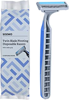 Amazon Brand - Solimo Twin Blade Pivoting Disposable Razors with Rubber Grip, 32 count