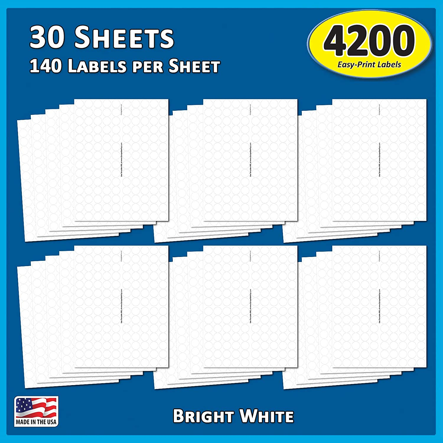 Pack of 4200, 3/4 inch Round Circle Dot Labels, 8 1/2 x 11 Inch Sheet, Fits All Laser/Inkjet Printers : Office Products