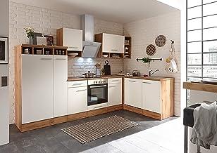 respekta Winkelküche Küchenzeile Küche L-Form Küche Wildeiche Weiß 310x172 cm