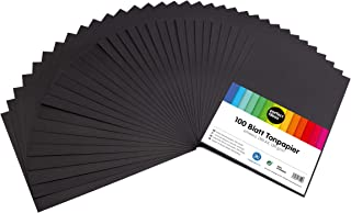 perfect ideaz 100 feuilles de Cartonette A4, Papier à dessin noir, teinté dans la masse, grammage 130 g/m², Feuilles de br...