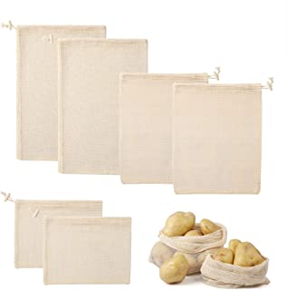 WarmHut Reusable Produce Bags - 100% Organic Cotton Mesh Grocery Shopping Vegetables & Fruits, Storage with Drawstrings (2...