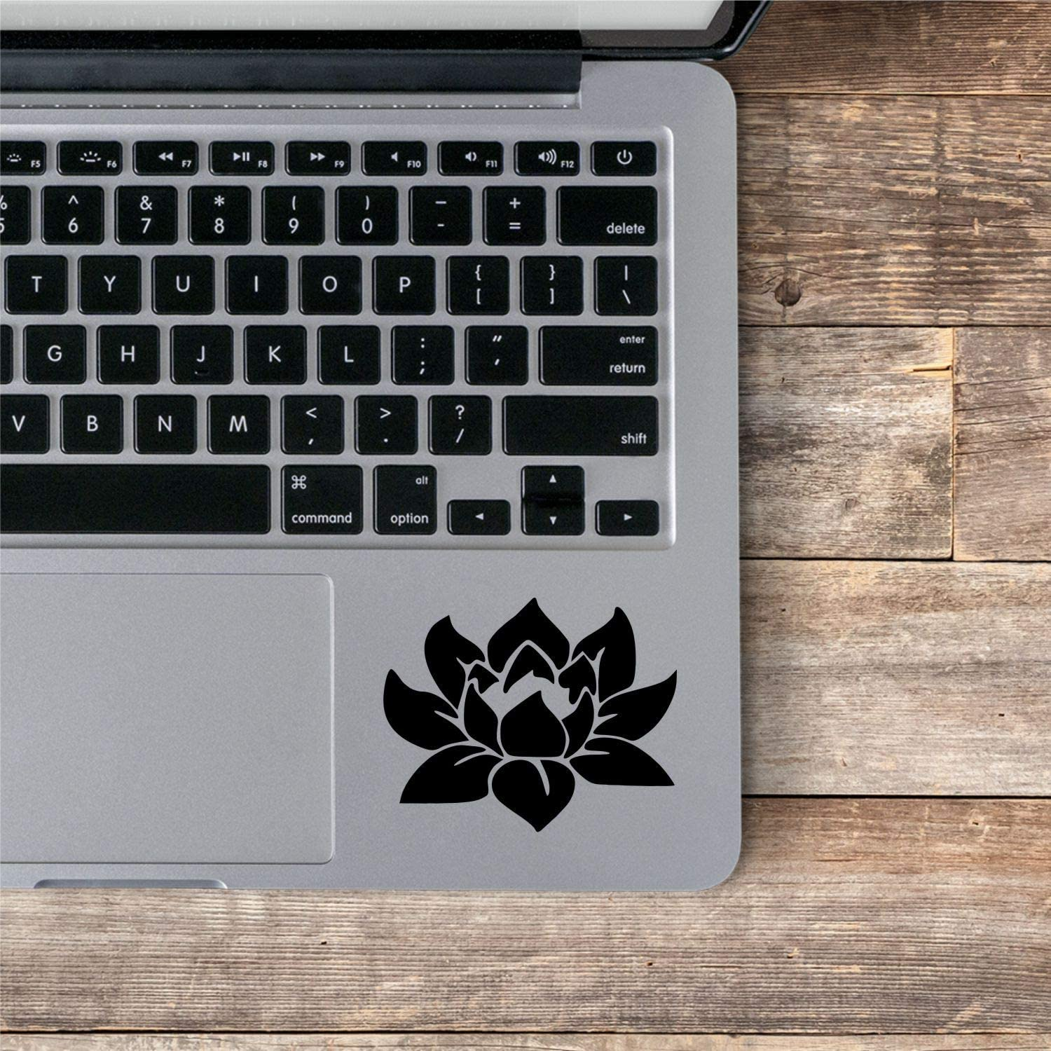 Sunset Graphics & Decals Lotus Flower Vinyl Decal for Laptop Phone Trackpad Keyboard Computer Tumbler Floral   Black   2.5 inches   SGD000129B