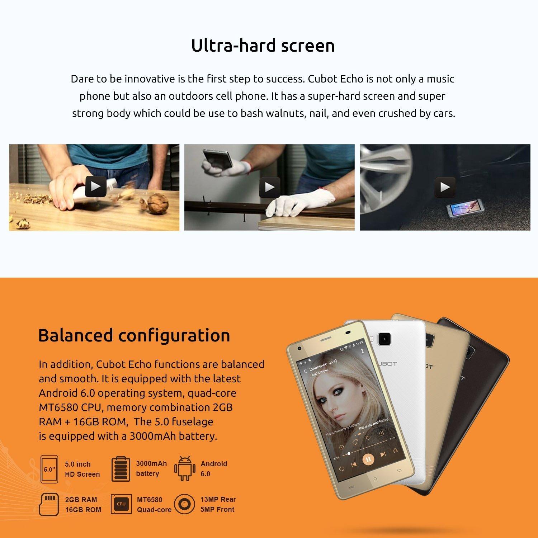 CUBOT Echo - Música Smartphone Libre 3G Android 6.0 (Pantalla táctil 5.0