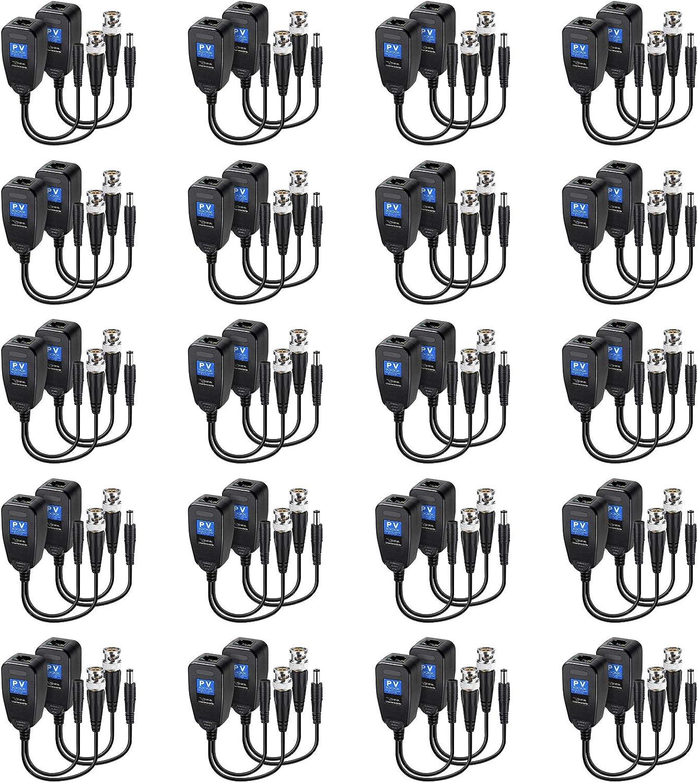 20 Pairs Atlanta Mall Passive Video Balun HD-CVI Max 45% OFF RJ45 Transmitter Transceiver
