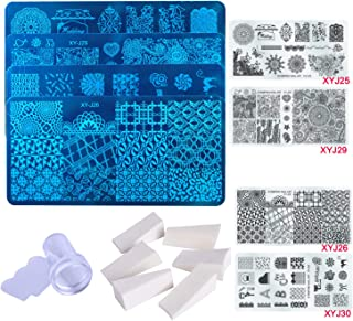 Rocutus Nail Stamping Plate Kit,4pcs Nail Stamping Plate,8pc Gradient Sponge,1pc Clear Jelly Silicone Stamper,Nail Art Stamping Plates Manicure Template Nail Art Tools (Mixed 3)