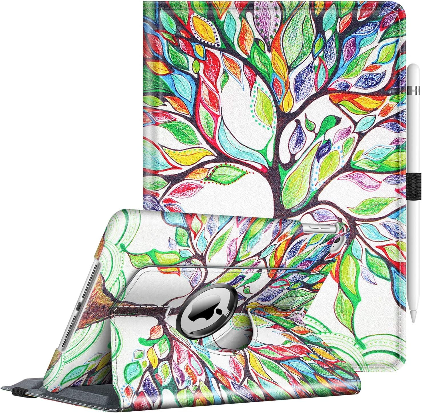 Fintie Case for iPad 9.7 2018 2017 / iPad Air 2 / iPad Air - 360 Degree Rotating Stand Protective Cover with Auto Sleep Wake for iPad 9.7 inch (6th Gen, 5th Gen) / iPad Air 2 / iPad Air, Love Tree