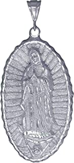 Sterling Silver Virgin Mary Pendant Necklace Oval Miraculous Guadalupe 5 Sizes