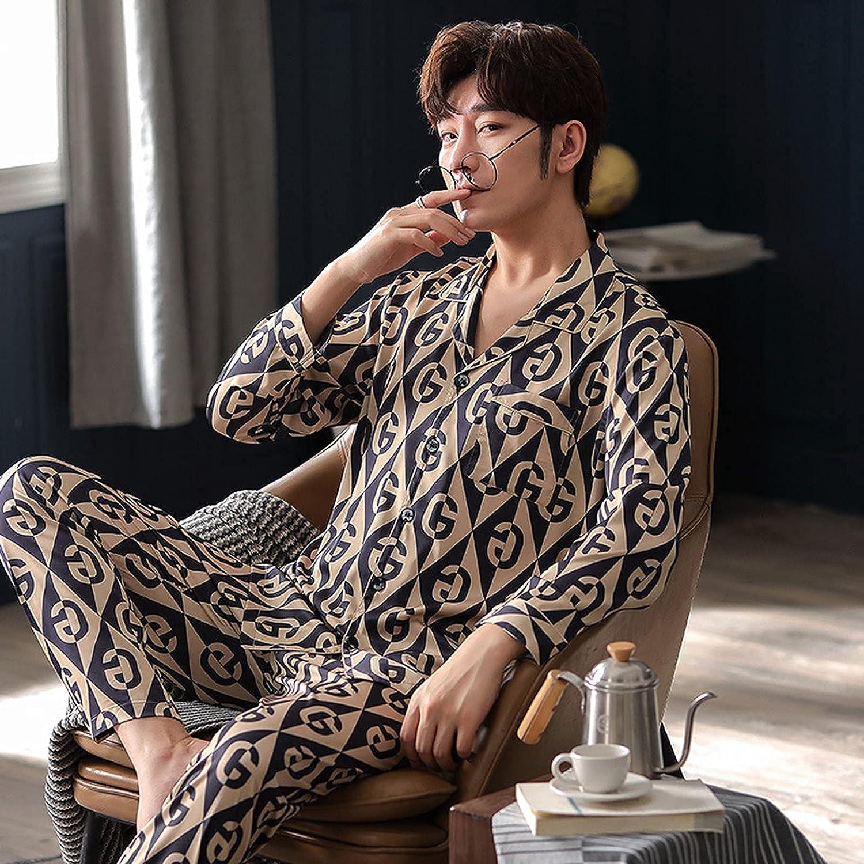 FMOGG Print Sleepwear Silk Satin Pajamas Set Long Sleeve Button-Down Pyjamas Suit Casual Men Loungewear Plus Size Sets