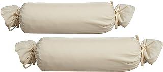 Biberna 0077144Jersey de para cojín cilíndrico de algodón 100%, 2Unidades, 15x 40cm Natural, 27x 18x 2cm