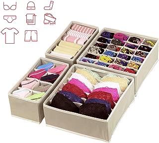 ARB Market 4Pcs Non-Woven Storage Box For Underwear Organizer Set Bra Ties Drawer Divider Closet Case Woman Socks Sorting Home Foldable Bin, Drawer Closet Underwear Organizer Storage Box (Beige)