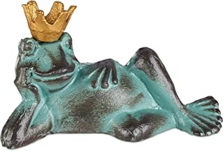 Relaxdays Garden Figurine Frog Prince, Weatherproof, Lying Toad, with Crown, Decorative Ornament, Cast Iron, Size L, Green