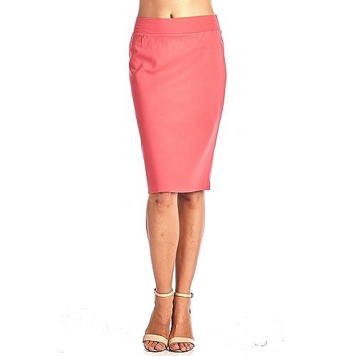d701a8d93c Women's Bodycon Fitted Elastic Waist Midi Office Skirt
