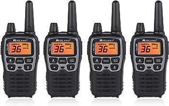 Midland T71VP3 36 Channel FRS Two-Way Radio - Up to 38 Mile Range Walkie Talkie - Black/Silver (Pack of 4)