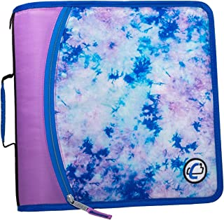 Case-It T641P Zipper Binder, 3-Inch Capacity, with 5-Tab Expanding File, Zip Mesh Pocket, Shoulder Strap, Celestial Lavender