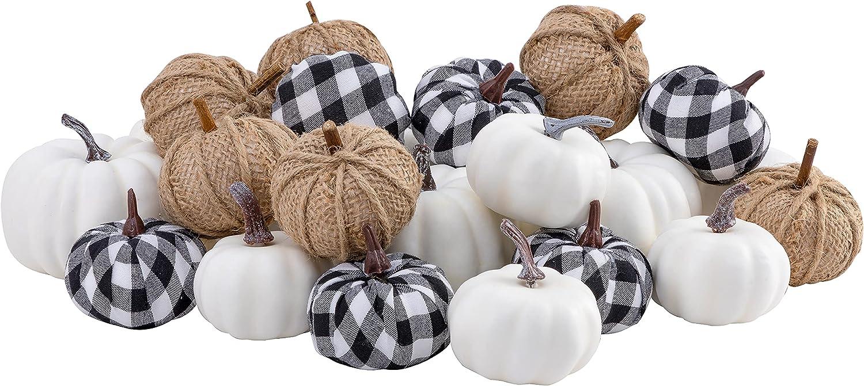 joybest 24pcs Mixed Artificial Pumpkins Assorted Size Color Harvest Pumpkins Set 12 White Foam Pumpkins, 6 Burlap Pumpkins, 6 Black White Grid Pumpkins for Thanksgiving Decorations Fall Wedding Decor