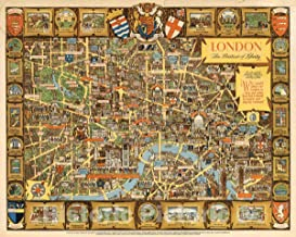 Historic Map - London, The Bastion of Liberty, 1951 Pictorial Map - Vintage Wall Art - 55in x 44in