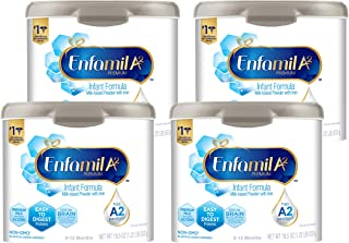Enfamil A2 Premium Infant Formula, Easy-to-Digest Premium Milk Proteins From Select A2 Cows, Milk-based Powder With Iron and DHA, Non - GMO Baby Formula, Reusable Tub, 19.5 Oz, Pack of 4, Total 78 Oz