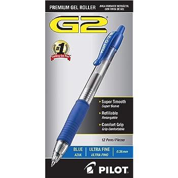 PILOT G2 Premium Refillable & Retractable Rolling Ball Gel Pens, Ultra Fine Point, Blue Ink, 12-Pack (31278)