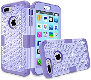LONTECT iPhone 7 Plus Case, Hybrid Heavy Duty Shockproof Diamond Studded Bling Rhinestone Case with Dual Layer [Hard PC+ Soft Silicone] Impact Protection for Apple iPhone 7 Plus (Purple)