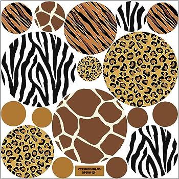 Wall Decor Plus More Giraffe Print Dots Wall Vinyl Sticker Decal 11 Piece 3-7.5 Chocolate Brown Chocolate Brown WDPM2397