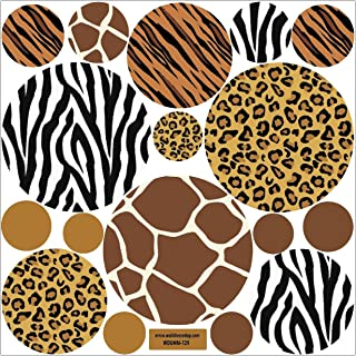 Animal Prints Decals, Large Dots in Leopard, Zebra,Tiger, Giraffe, Animal Prints, Fabric Wall Decals, Repositionable