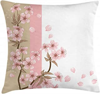 Japansk prydnadskudde kuddfodral, romantiska Sakura blommar blommor blomblad vår vind östra naturtema 45 x 45 cm, sandbrun