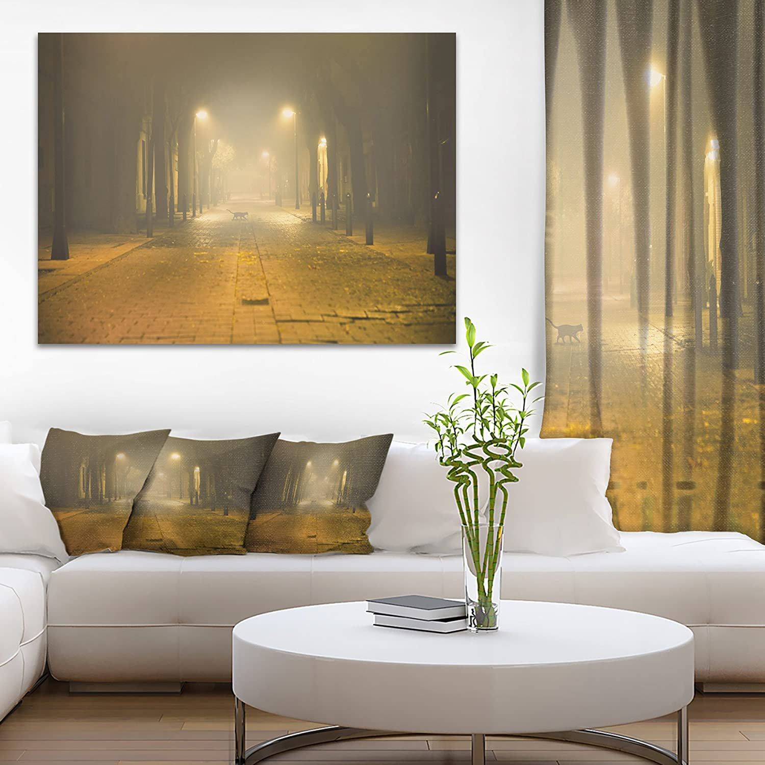 Design Art Pt9406 3p Urban Street At Night Landscape Photo Canvas Art Print 36x28in Multipanel 3piece Yellow 36x28 3piece Amazon In Home Kitchen