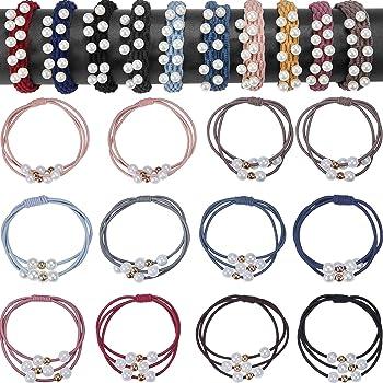 Women Bowknot Elastic Hair Band Rope Ring Ponytail Holder Nylon Black Alloy