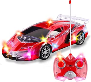 Light Up RC Remote Control Racing Car - 1:20 Scale Radio Control Sports Car with Flashing LED Lights - Ideal Gift Toy for Kids (Red)