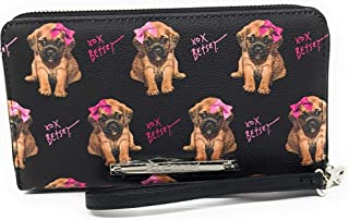 Betsey Johnson Zip Around Wallet/Wristlet- Picture of puppy with pink bow- Black