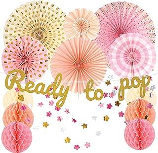 SMILING KOALA | Baby Shower Decorations for Girl | Pink and Gold Baby Shower Decorations | Ready to Pop banner | Paper fans | Honeycomb | Garland | Girl Baby Shower decorations | 15 pieces