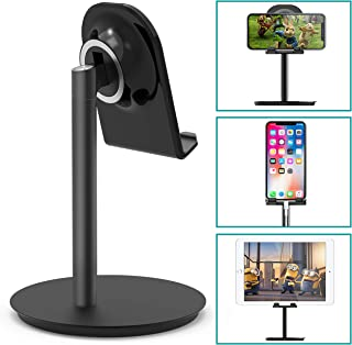 Klearlook Cell Phone Stand, Angle Adjustable Desk Stand Holder Compatible for iPhone Galaxy Phone Tablet Smartphone Stand (Black)