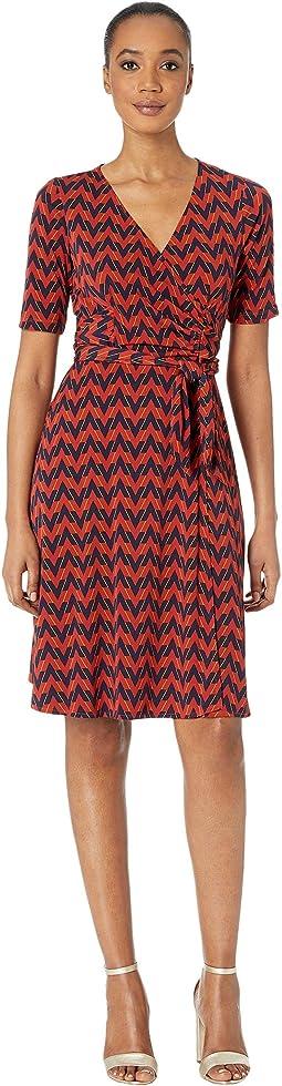 Chevron Faux Wrap A-Line Matte Jersey Dress