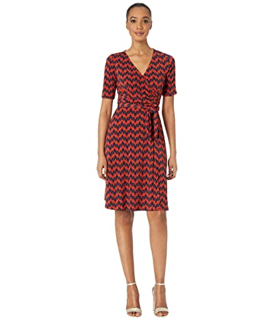 Donna Morgan Chevron Faux Wrap A-Line Matte Jersey Dress (Navy/Sepia) Women