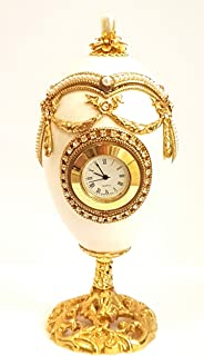 Handmade Faberge egg Clock Wedding ring proposal Russian Fabrege style Jewelled white goose egg trinket box Hand decorated with Bohemian crystals embellished 24kt Gold 5.9
