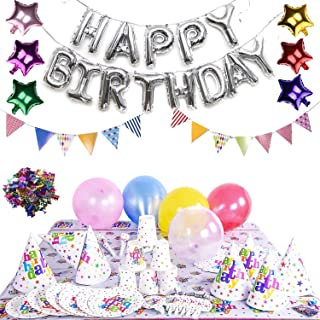 Birthday Party Decoration Kids Theme Assorted Pack - Metallic, Silver Foil & Shiny Latex Balloons, Hats, Confetti, Blowouts, Cups, Tablecover, Napkins, Plates, Flags, Trumpets - SERVES 12 (100 pcs)