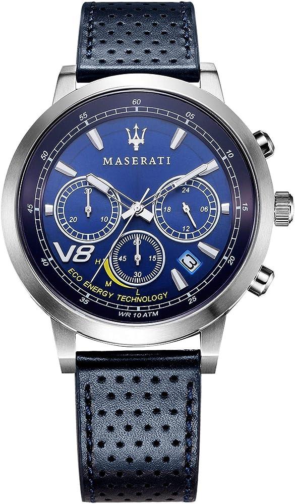 Maserati orologio cronografo da uomo, collezione gt  in acciaio e cuoio 8033288820215