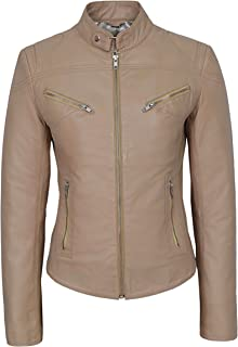 Carrie CH Hoxton 'Speed' Ladies Real Leather Jacket Cool Retro Fitted Biker Motorcycle Style SR-01