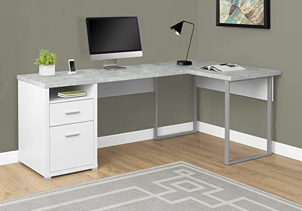 Monarch Specialties I 7258 Computer Desk Left Or Right Facing White Cement Look 80 L