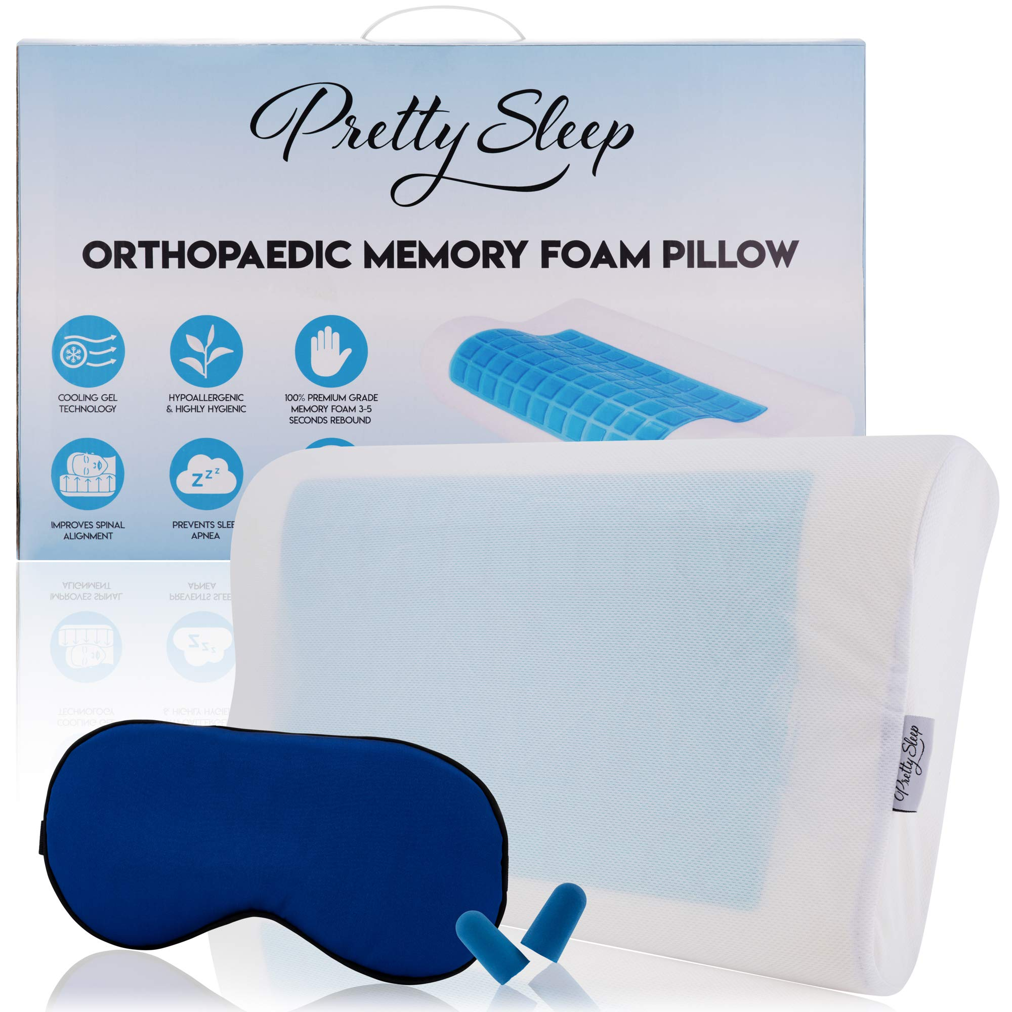 Pretty Sleep Orthopaedic Contour Memory Foam Pillow Heat Dissipating For Neck Pain & Shoulder Support | Unique Design, Soft Supportive, Washable