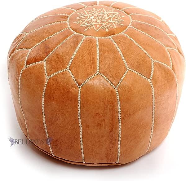 BeldiNest Stuffed Moroccan Tan Leather Pouf Handmade Pouffe Leather Ottoman