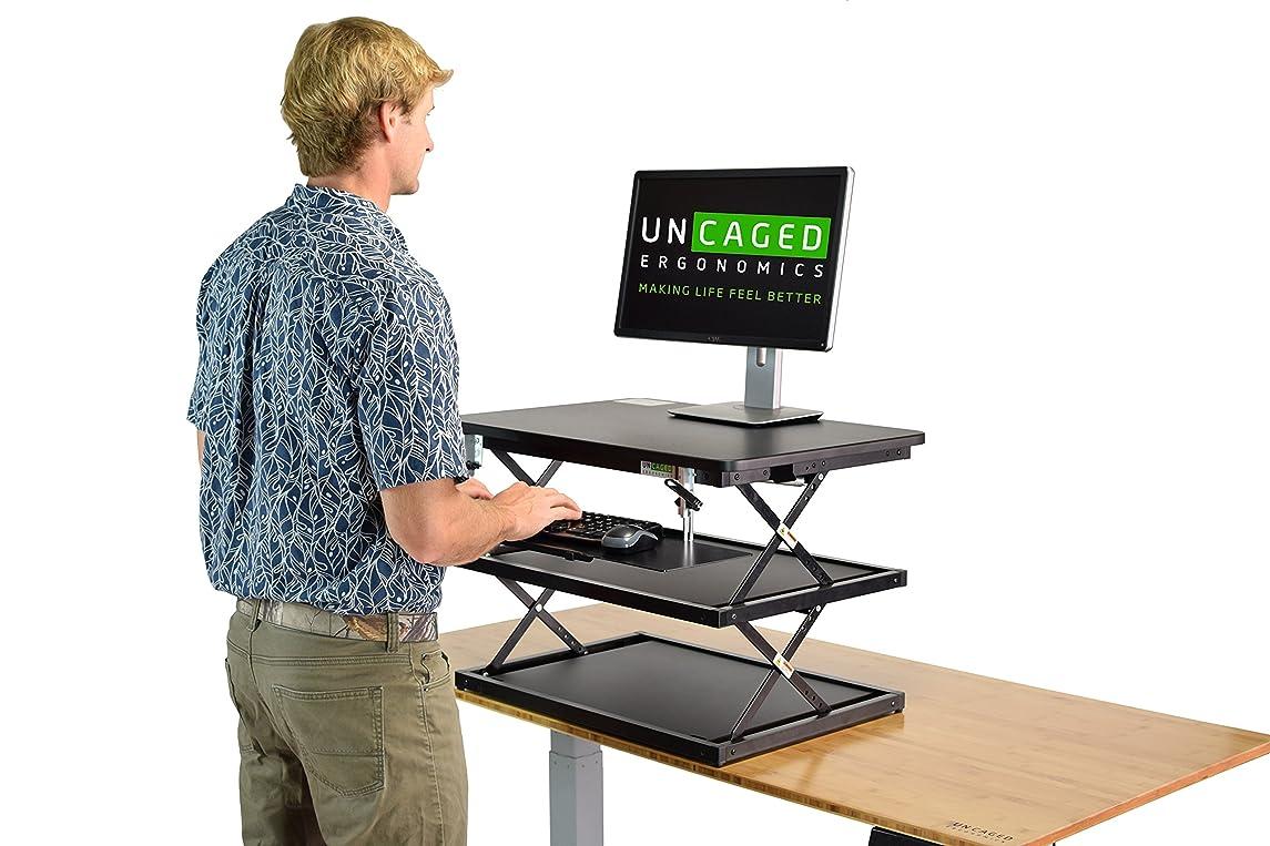 痛い迫害する大西洋Uncaged Ergonomics ラップトップ&デスクトップデスク変換+高さ調節可能なキーボードトレイ。 コンピュータライザーを構築する安くて簡単な座席