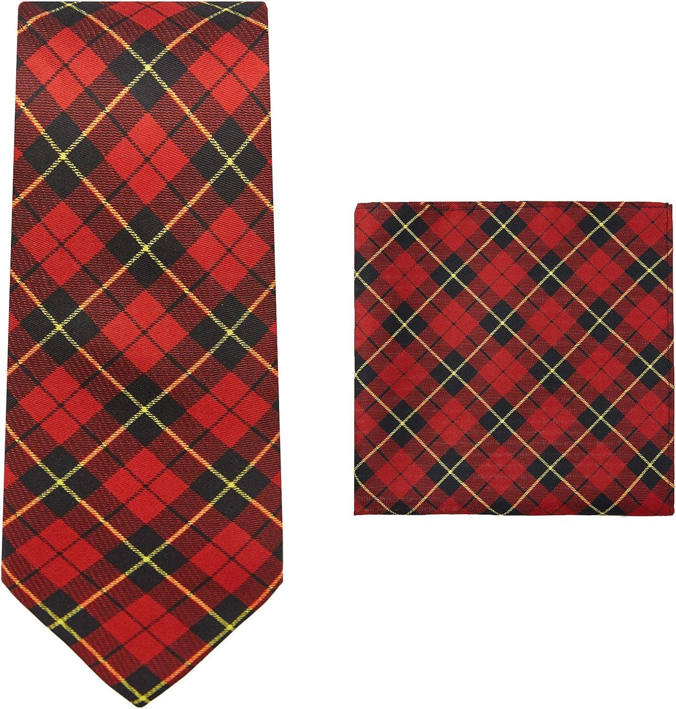 Jacob Alexander Royal Tartans Plaid Men's Regular Neck Tie and Pocket Square Set