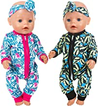 ZITA ELEMENT 2 Sets Baby Doll Clothes Outfits Jumpsuits with 2 Headbands for 14-16 Inch Baby Doll, 43cm New Born Baby Doll, 15 Inch Bitty Baby Doll and American 18 Inch Girl Dolls Clothes and Accessor
